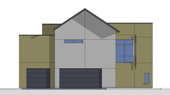 Rear Elevation alternate scheme in SketchUp