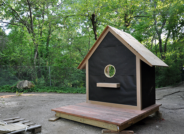 The Bird Playhouse wrapped in building paper