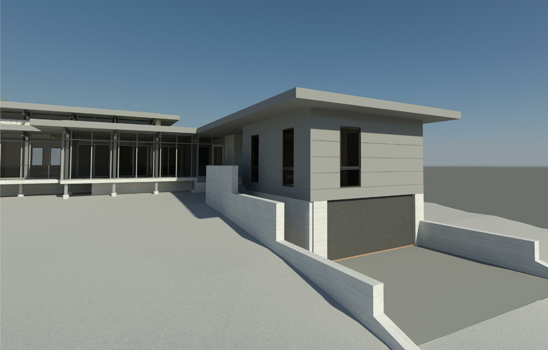 KHouse Modern Rear Elevation Perspective from Alley