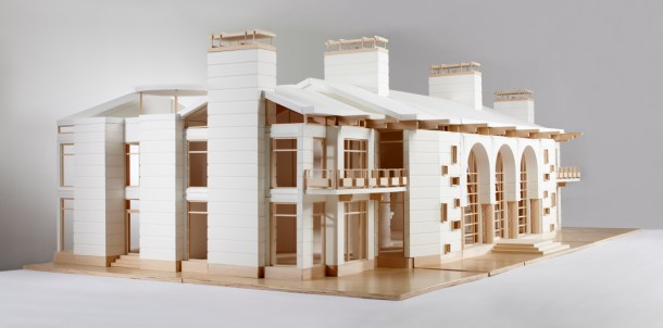 side view of finished architectural model