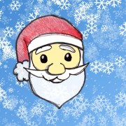 santa sketch face with snowflake background