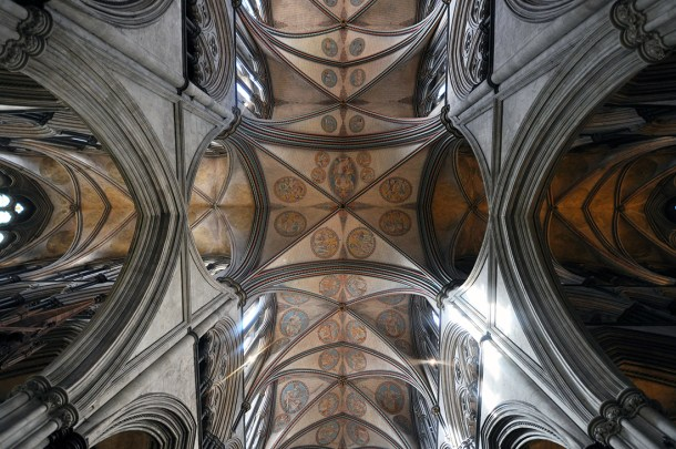 Salisbury Cathedral ceiling view