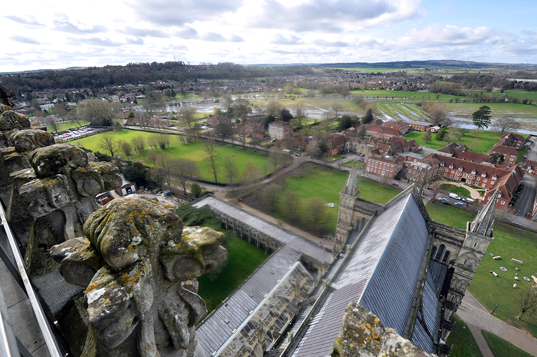 Salisbury Cathedral view from bell tower 01