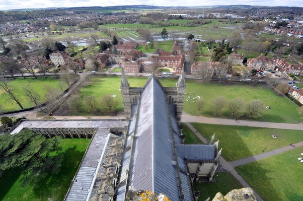 Salisbury Cathedral view from bell tower 02