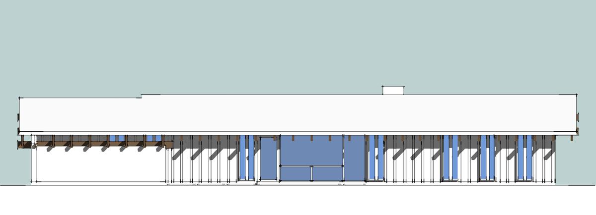 3D house model exterior back yard elevation