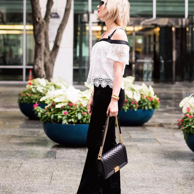 Velvet flares and a lace top Velvet is such ahellip