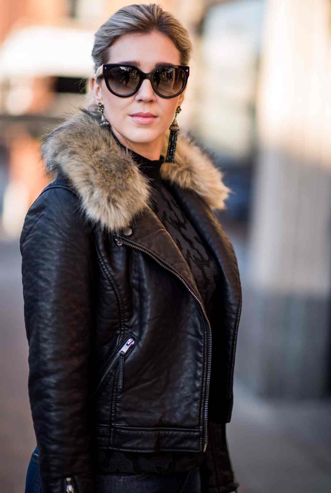 leather jacket faux fur collar