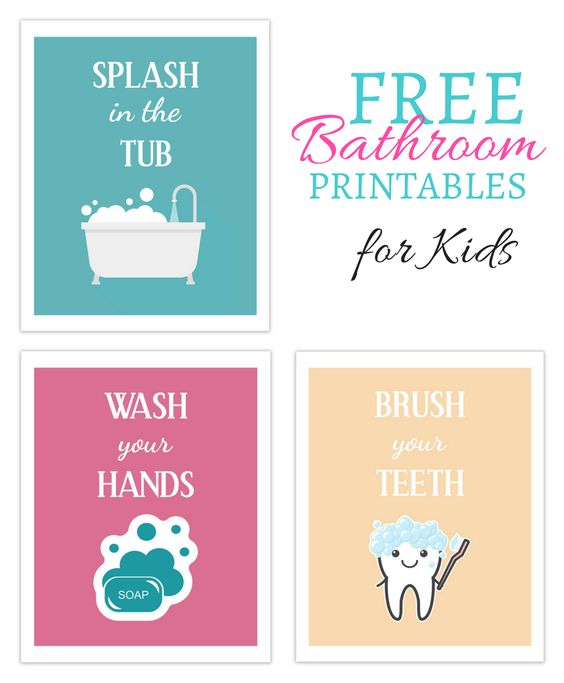 Download this Set of 3 Free Printables for Your Kids Bathroom
