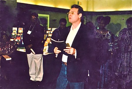 Emmanuel Obieachina, KT, Tess Onwueme.   African Literature Association, 28th Annual Conference.  U of Calif., San Diego, Ca. 2002.