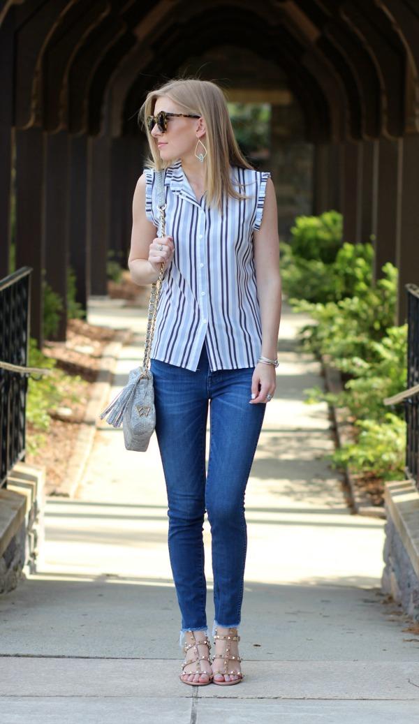 ASOS frill trim striped shirt 2