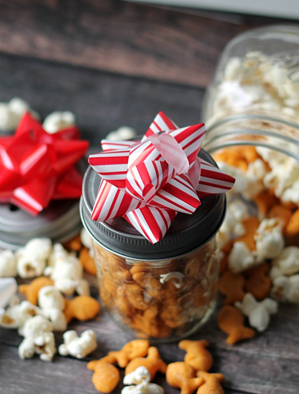 Ranch goldfish snowball mix for Hostess gifts that travel well