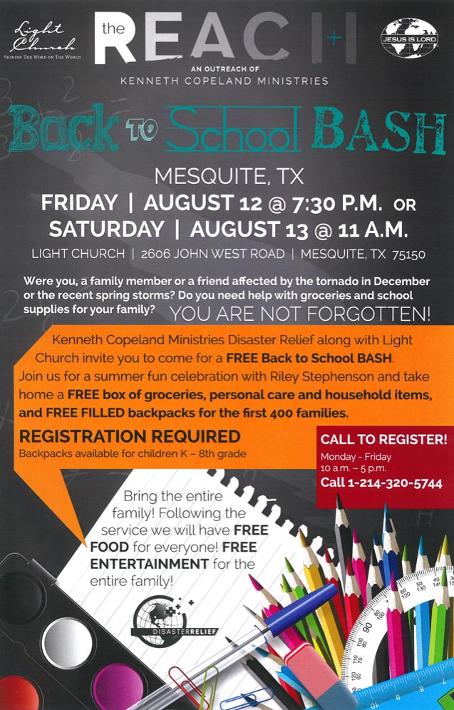 The Reach Back to School BASH LightChurch - Disaster Relief Flyer