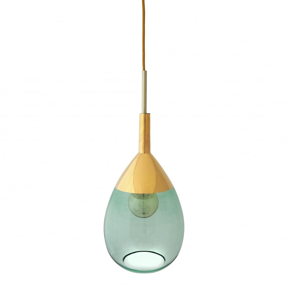Green and gold glass hanging pendant light
