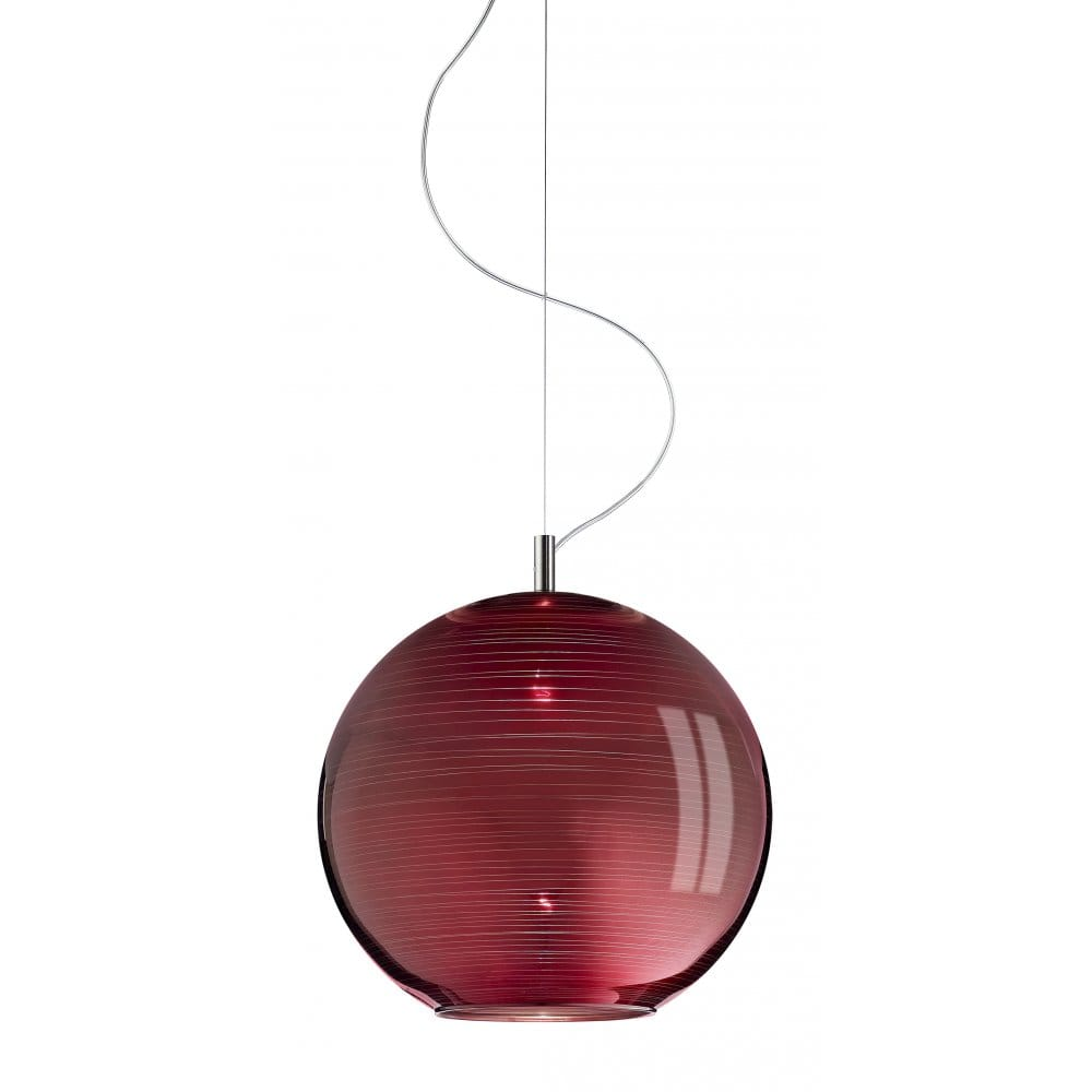 Italian Red Glass Ceiling Pendant Light on a Long Wire