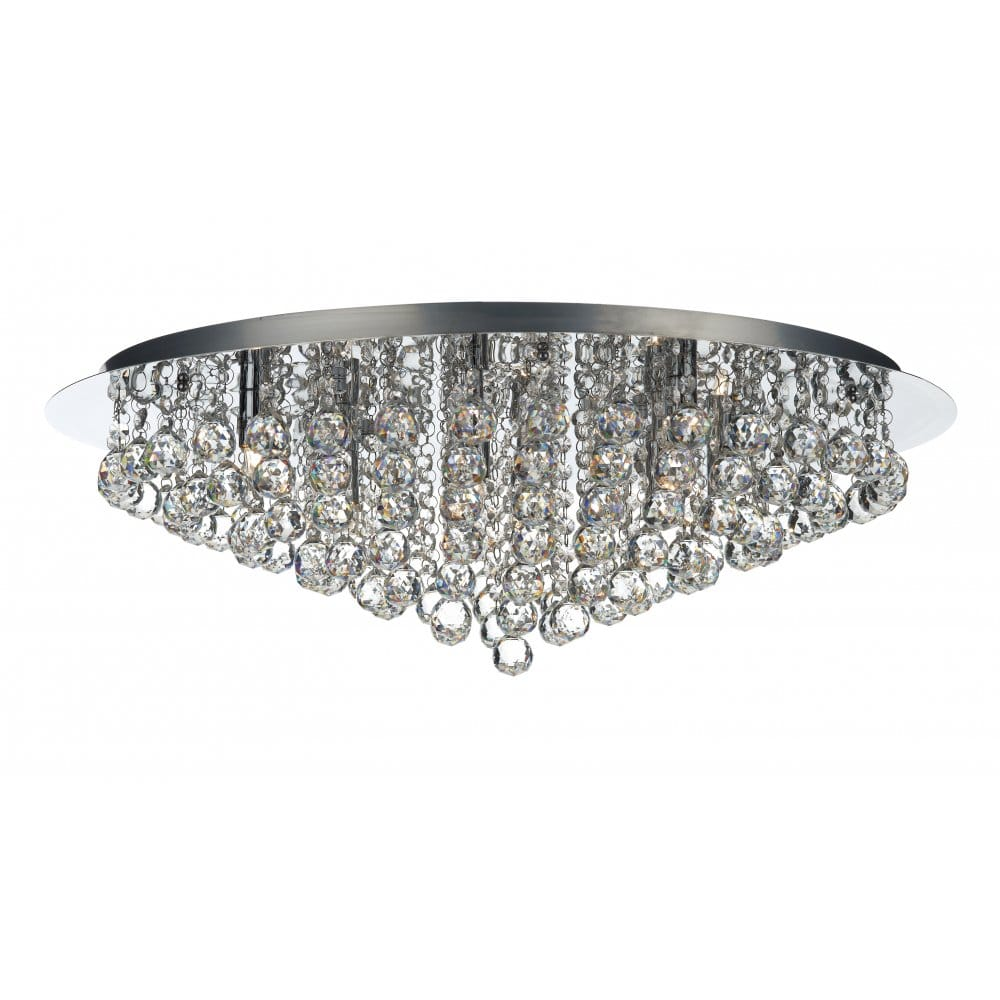 Pluto Large Chrome & Crystal Chandelier for Low Ceilings