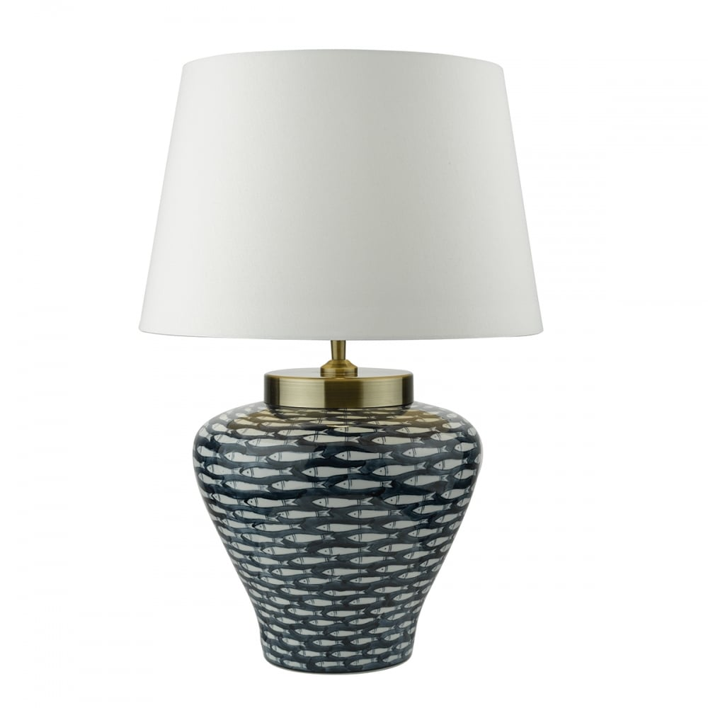 Fish Patterned Blue and White Porcelain Table Lamp with