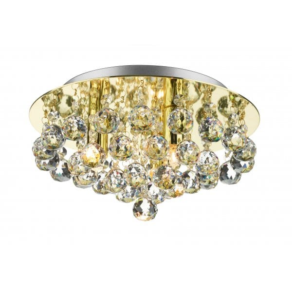 Gold Light Ideal for Low Ceilings Chrystal Chandelier