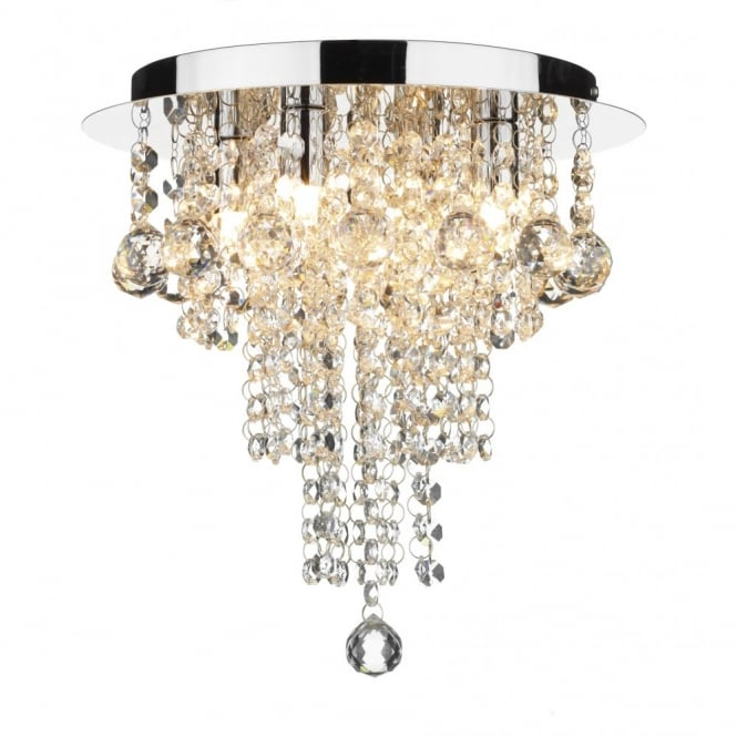 Crystal Circular Low Ceiling Light with Cascading Beads