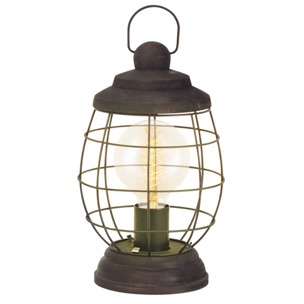 Rustic Design Cage Style Table Lamp in Patina Brown Finish