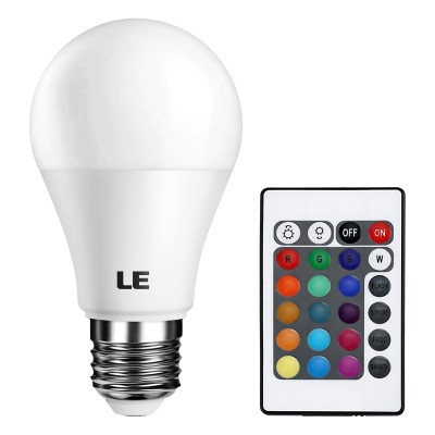 5W Color Changing A19 LED Bulb Dimmable, Remote Controller Included | LE®