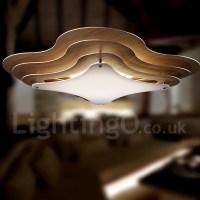 Living Room Bedroom Dining Room LED Wood Flush Mount Light ...