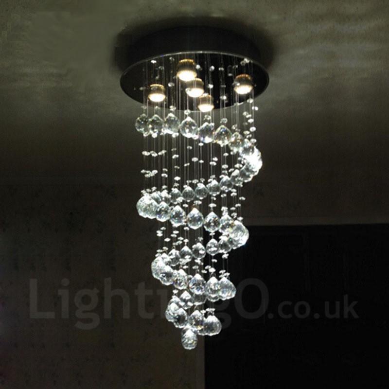 5 Lights Modern LED Crystal Ceiling Pendant Light Indoor