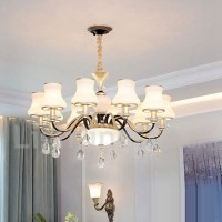 10 Light Retro, Rustic, Luxury Crystal Pendant Lamp ...