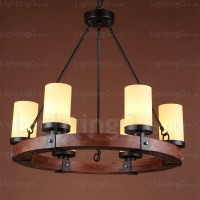 6 Light Country/Rustic Pendant Lights with Glass Shade for ...