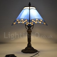 Bedside Tiffany Table Lamp with One-light in Blue Stained ...