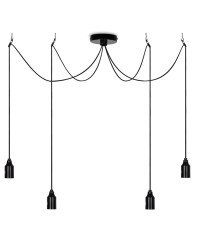 Minimalist Bare Bulb Pendant with 4 Lamps