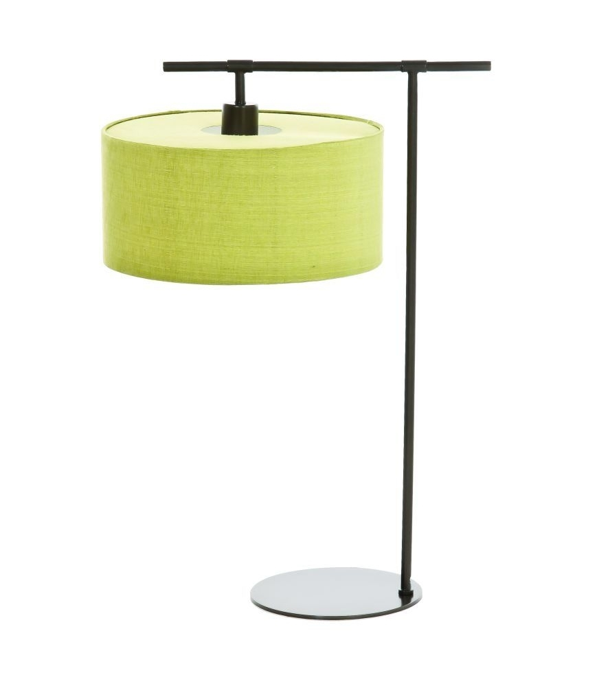 Dark Brown Table Lamp with Lime Shade