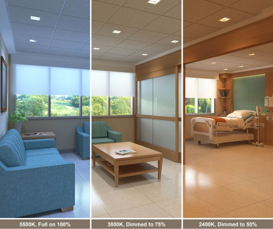 Healthcare and assisted-living facilities are considered solid early adopter opportunities for circadian lighting strategies. Image courtesy of USAI Lighting.
