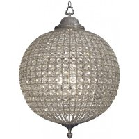 Large Silver Crystal Round Chandelier