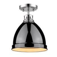 Golden Lighting Duncan Flush Mount in Chrome with Black ...
