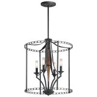 Kichler Clague 4-Light Foyer Pendant in Distressed Black ...