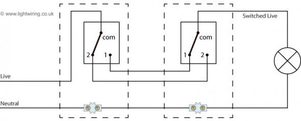 one way lighting circuit using junction boxes