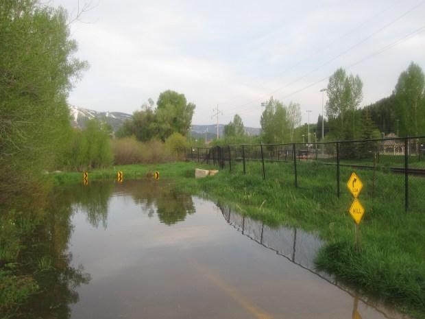 the flooded bike path