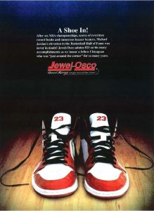 Michael Jordan - Jewel Kosco - A SHOE IN ad - via LIKELIHOOD OF CONFUSION blog