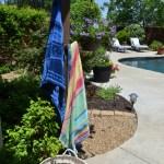 hanging towels poolside