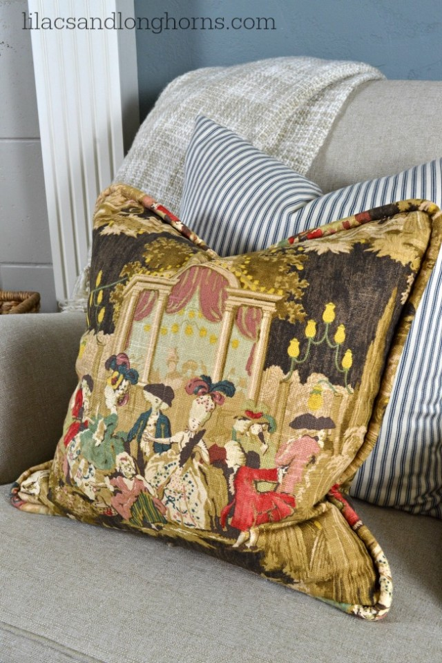 toile fabric pillow