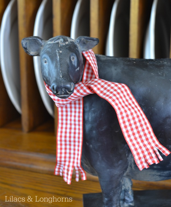 cow with scarf