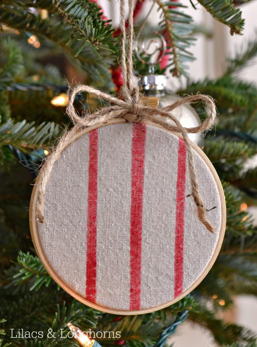 No-Sew Faux Grain Sack Ornament