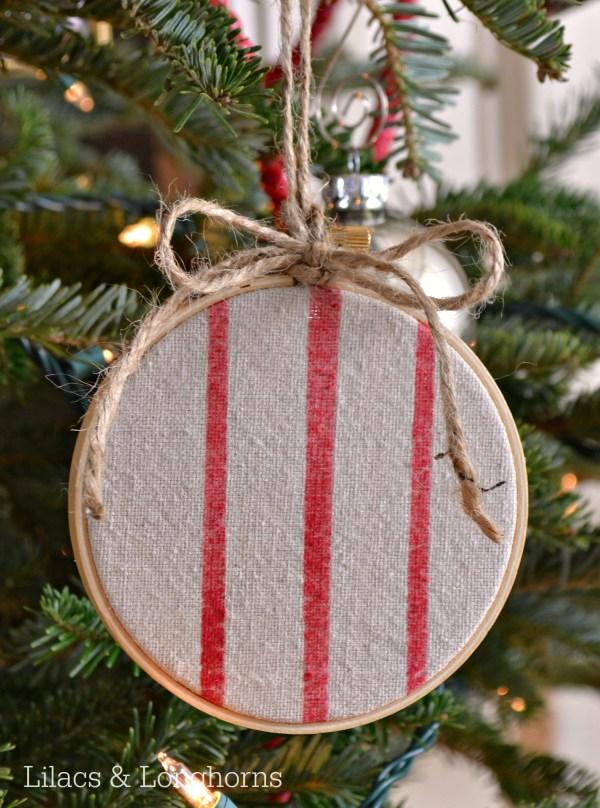 faux grain sack hoop ornament