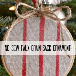 Faux Grain Sack Ornaments