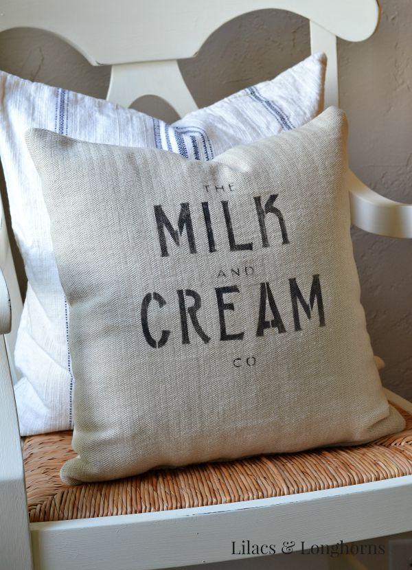 faux grain sack pillow milk and cream