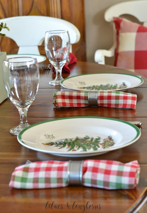 Spode Christmas tree plates and plaid napkins