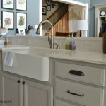 farm sink and marble counters