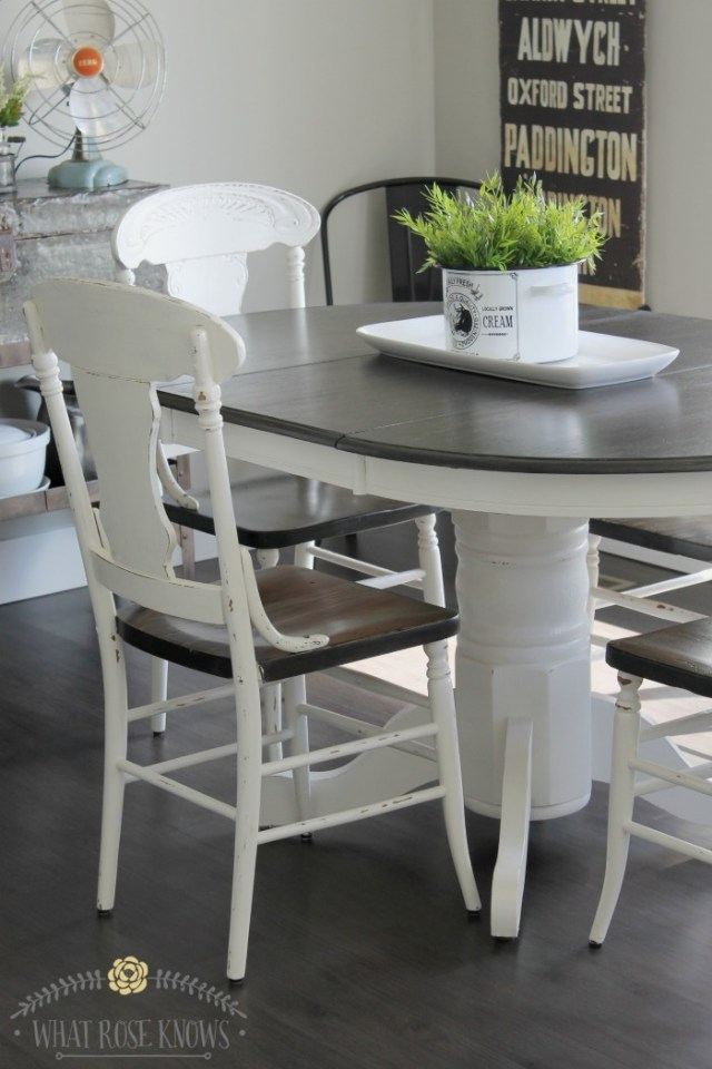 farmhouse-painted-kitchen-table-chairs