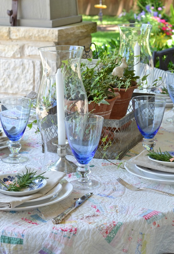 farmhouse table with blue and white