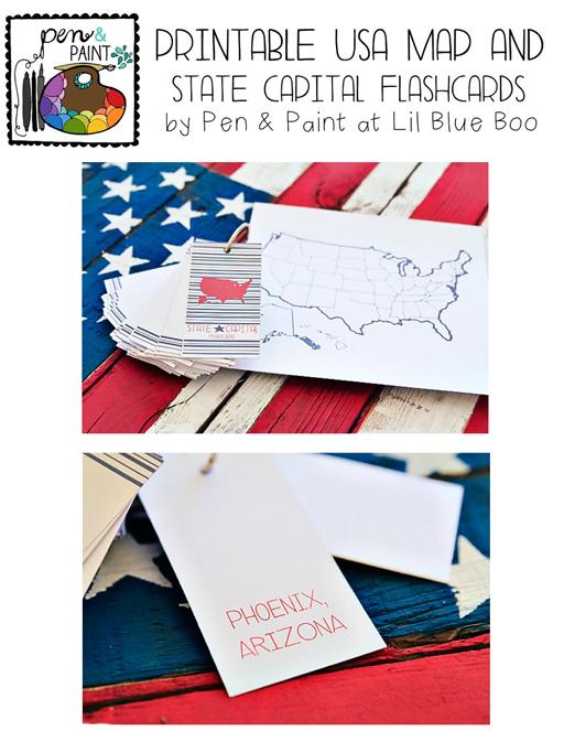 Printable USA Map and State Capital Flashcards
